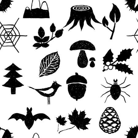 nut trees: seamless doodle forest pattern