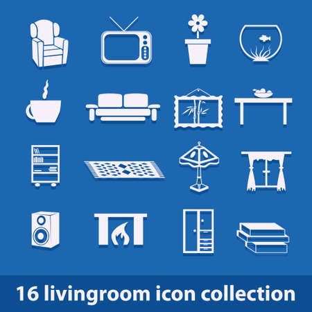 16 living room icons collection Stock Vector - 16246318