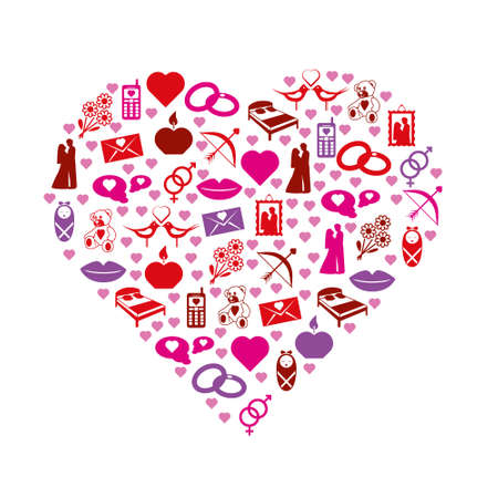 marriage bed: love icons in heart