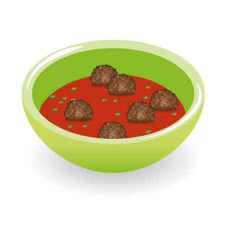 meatballs in tomato sauce Illustration