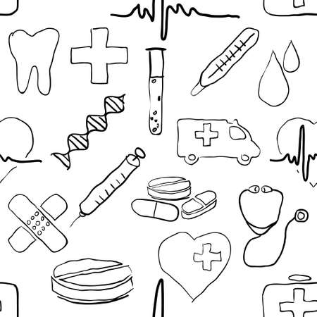 seamless doodle medical pattern Vector