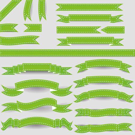 hem: set of green ribbons Illustration