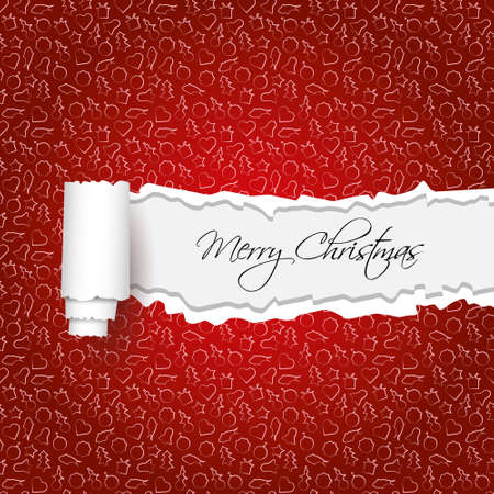 torn paper and christmas pattern Vector