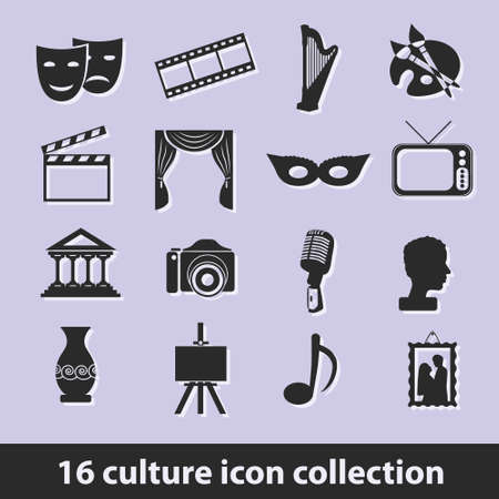 16 culture icon collection Vectores