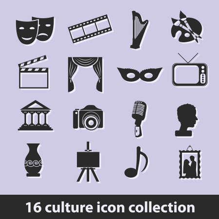 an exposition: Icona di raccolta 16 cultura Vettoriali