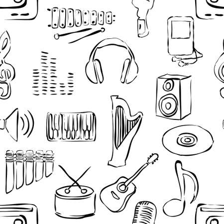 xylophone: seamless sketch music pattern Illustration