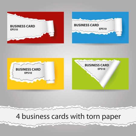 red and yellow card: juego de cuatro tarjetas de visita con papel rasgado