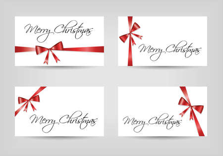 xmas decoration: card with ribbon collection Illustration