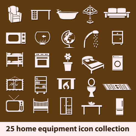 child bedroom: 25 home equipment icon collection Illustration