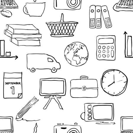 doodle business seamless pattern Vector