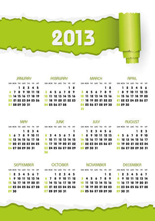calendario 2013 con trozos de papel verde Ilustración de vector