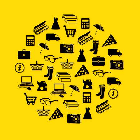 car clothes: shopping icons in circle Illustration