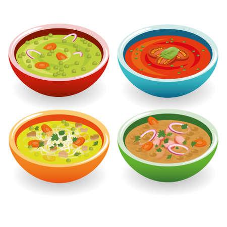 cztery zupy Ilustracje wektorowe