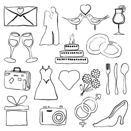 wedding doodle images Stock Vector - 16692287