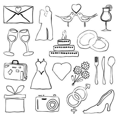 wedding doodle images Stock Vector - 16692287