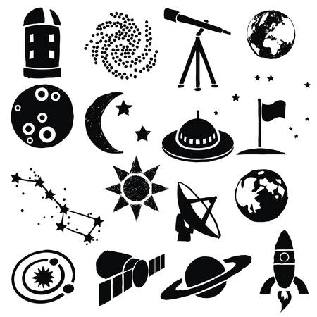 sun and moon: doodle space images