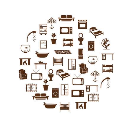 Hause equipment icons im Kreis Standard-Bild - 17211679