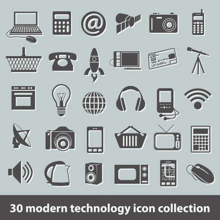 30 modern technology icon collection Vector