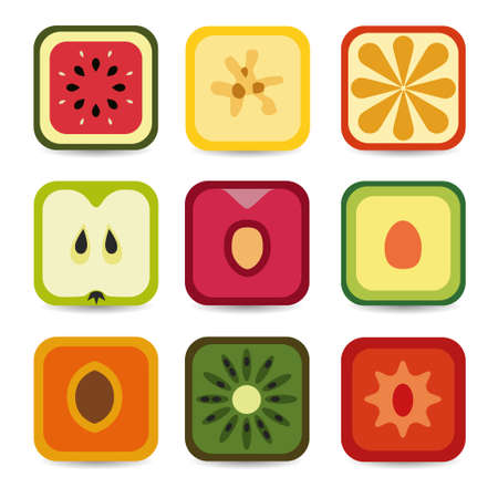 fruit application icons Stock Vector - 17450598