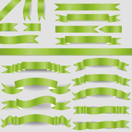 set of green ribbons Stock Vector - 17450608