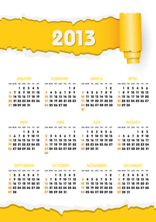 calendar 2013 with yellow torn paper Stock Vector - 17450615
