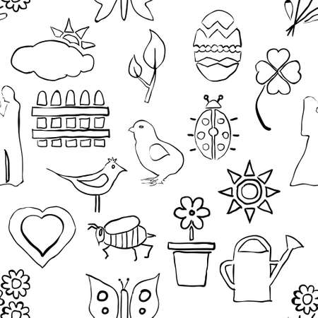 seamless sketch spring pattern Stock Vector - 17450606