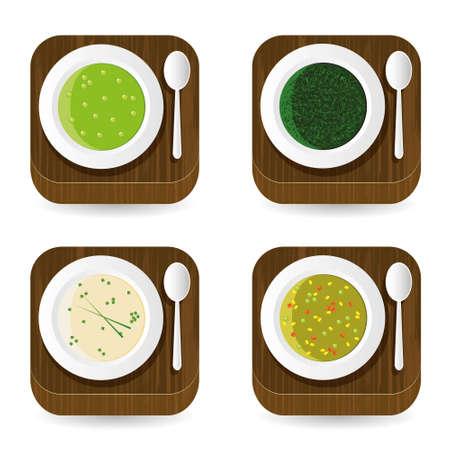 チャイブ: スープ アプリケーション アイコン  イラスト・ベクター素材