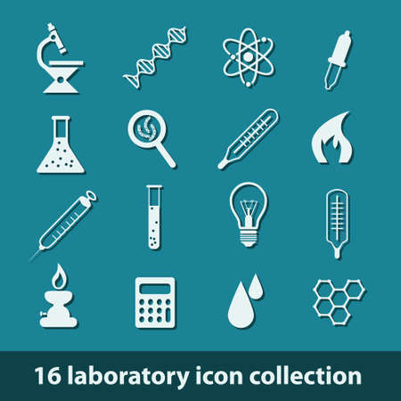 16 laboratory icon collection Stock Vector - 17631310