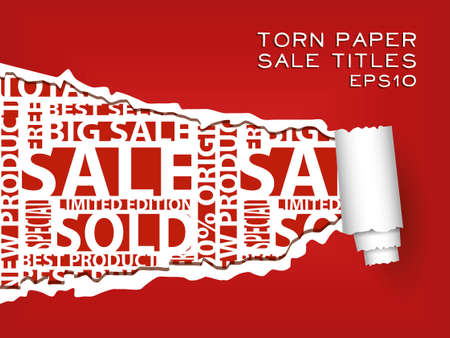 red torn paper with red sale titles Vector