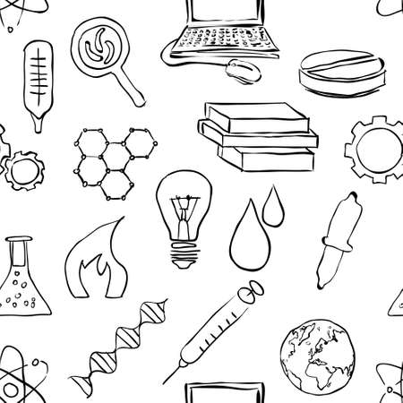 handglass: seamless sketch science pattern Illustration