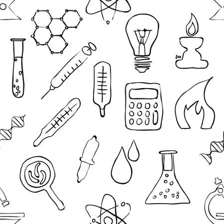 handglass: sketch seamless laboratory pattern Illustration