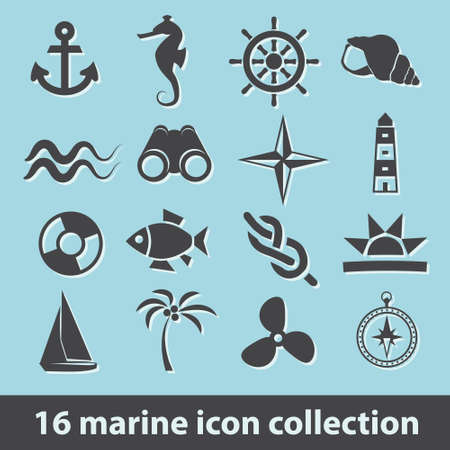 16 marine icon collection Vectores