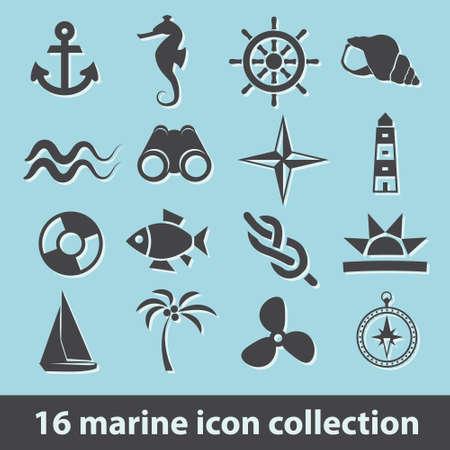 16 marine icon collection Ilustracja