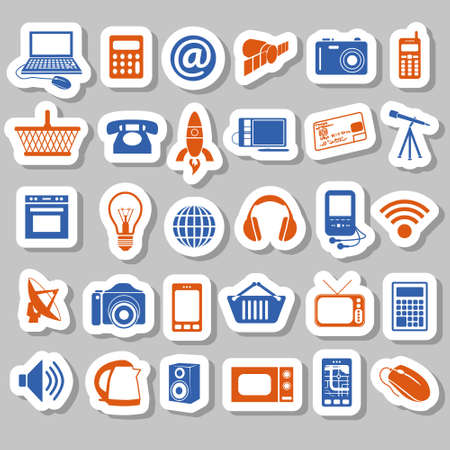 modern technology stickers Stock Vector - 17761410