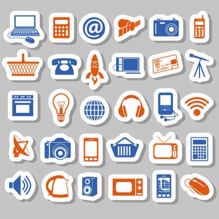 modern technology stickers Stock Vector - 17761410