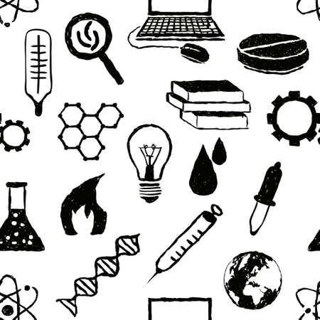 seamless doodle science pattern Vector