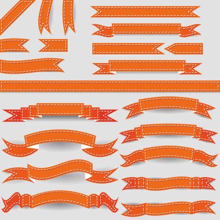 hem: set of orange ribbons Illustration