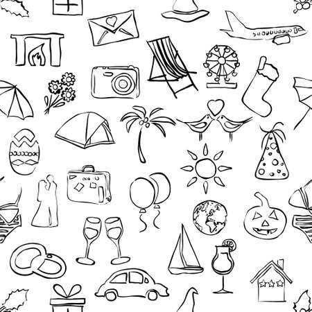 sketch holiday and events seamless pattern Vectores