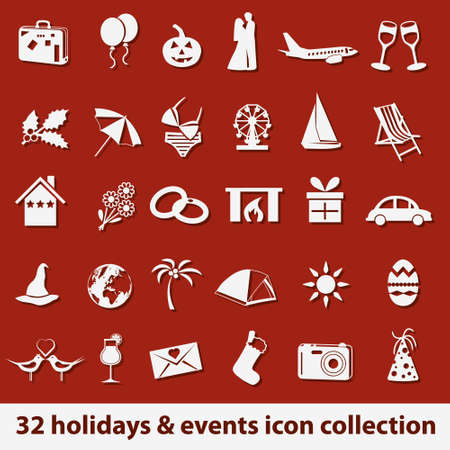 16 holidays and events icon collection Stock Vector - 18001216