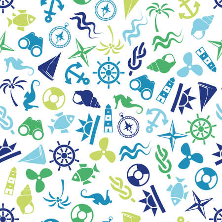 seamless marine pattern 矢量图像
