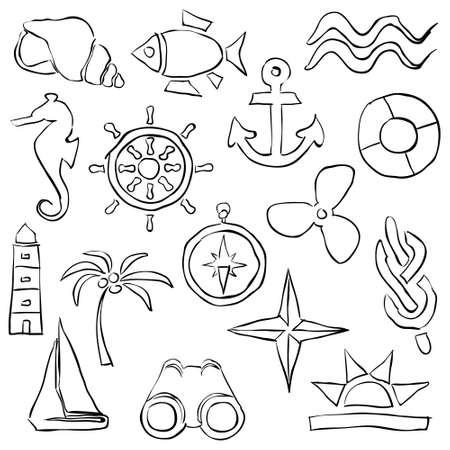 sketch marine images Vector