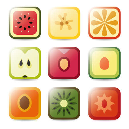 fruit application icons Stock Vector - 18412998