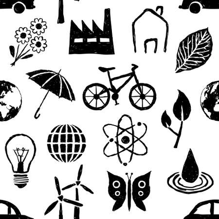 bike cover: doodle environment seamless pattern Illustration
