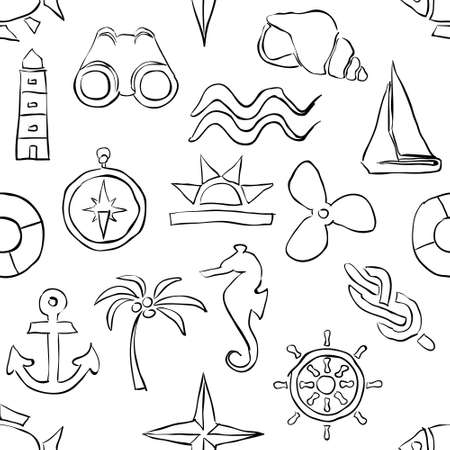 seamless sketch marine pattern Vector