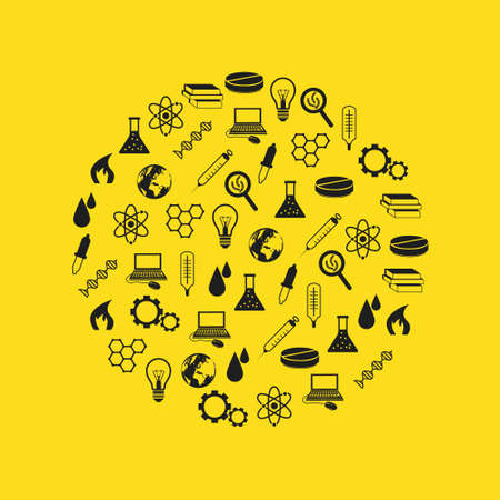 science icons in circle Stock Vector - 18412987