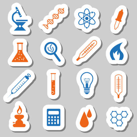 laboratory stickers Vector