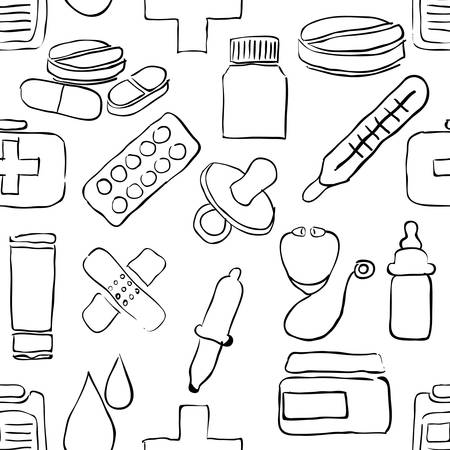 pharmacy store: sketch pharmacy seamless pattern
