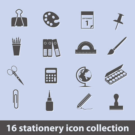 protractor: 16 stationery icon collection Illustration