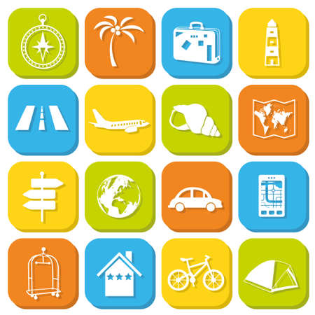 travel icons in squares Stock Vector - 18618695