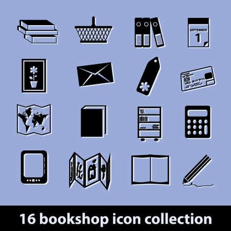 bookshop: 16 bookshop icon collection Illustration